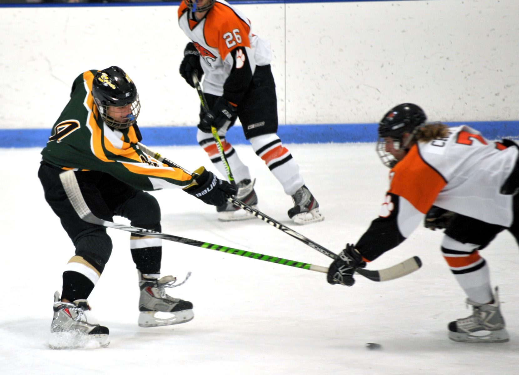 St. Mary's Jake Neilsen, left, battles South Hadley's Tom Crotty. (Photo by chief photographer Frederick Gore)