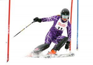 Westfield's Jenna Rothermel passes through the final gates of the slalom course during the 2013 state ski championships in Charlemont. Rothermel is off to another fine start this season. (Photo by chief photographer Frederick Gore)