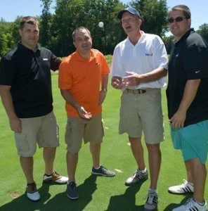 The corporate sponsor StubHub team, led by 2005 Westfield State alumnus Randy Minde (far right) placed first in the Owl Club golf tournament. (Submitted photo)