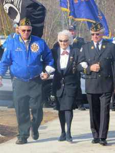 Gold Star Mother Marie Alamed is escorted by VFW Post 872 Commander George Fedora and Legion Commander James Levy during a Veterans Day ceremony at the Southwick War Memorial Nov. 11. (Photo by Hope E. Tremblay)