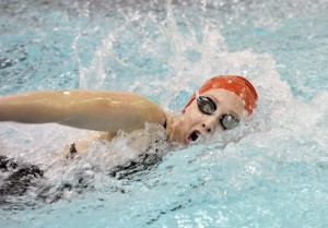 Westfield senior Captain Hope Walsh came in seeded sixth in the 200 yard freestyle capturing second place with a time of 1:56.81 during the 2014 Girls' Western Massachusetts High School Swimming and Diving Championship at Springfield College Sunday. (Photo by Frederick Gore)