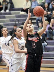 Westfield's Rebeka Santiago, right, looks for the net during Thursday night's game against Holyoke. (Photo by Frederick Gore)