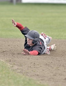Westfield base runner Colin Dunn slides safely into second base during Wednesday's game against visiting Amherst.  (Photo by Frederick Gore/www.thewestfieldnews.smugmug.com)