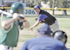 Westfield Voc-Tech starting pitcher Jake Parsons delivers to a McCann Tech batter during Monday's game at Bullens Field. Westfield went on to win 4-3. (Photo by Frederick Gore/TheWestfieldNews.Smugmug.com)