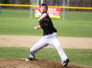 Westfield Voc-Tech pitcher Nick Clegg winds up to deliver a pitch from the mound Wednesday against Franklin Tech at Bullens Field. (Photo by Chris Putz)
