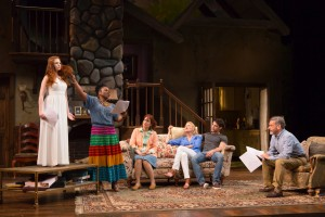 """The cast of """"Vanya and Sonia and Masha and Spike"""" at Hartford Stage. (Photo by T. Charles Erickson.)"""
