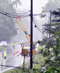 Police closed one lane of Feeding Hills Road in Southwick Wednesday after a utility pole transformer across from Comark blew up causing residents to lose power and the library to close early. Southwick Fire Chief Richard Anderson said the explosion was loud and high. (Photo by Frederick Gore)