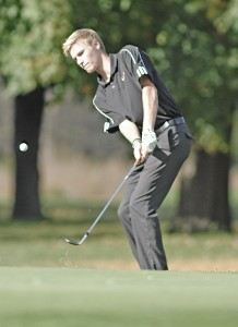 Westfield No. 1 player Sebastian Soendergaard chips to the green on the 10th hole during Wednesday's match against Northampton at Tekoa Country Club. (Photo by Frederick Gore)