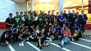 The St. Mary and Westfield Voc-Tech boys' soccer teams got together for a photo at McDonalds after posting identical 7-0 victories Thursday on the road. (Submitted photo)