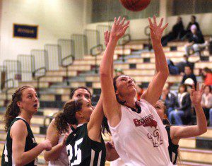 Westfield's Karly Mastello (22) goes up with the ball. (Photo by Chris Putz)