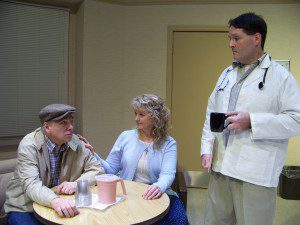 """Steve Henderson (of Westfield), Lori Evans (of Lenox) and Chris Carey (of Longmeadow) are shown in a scene from """"Iris"""" a drama at West Springfield's Majestic Theater.  (Photo by Lee Chambers)"""