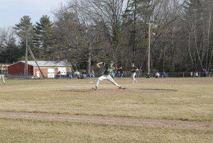 Southwick's Bob Hamel delivers to a Minnechaug batter. (Photo by Fred Gore)