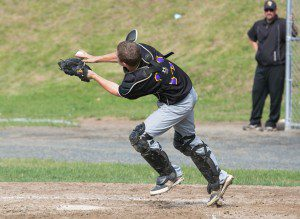 WVT catcher Chris Boyden catches a fly ball on Tuesday against Smith Tech.  (Photo by Liam Sheehan)