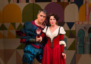 """Mike McGowan and Anastasia Barzee as Fred Graham and Lili Vanessi in """"Kis Me Kate"""". (Photo by T. Charles Erickson)"""