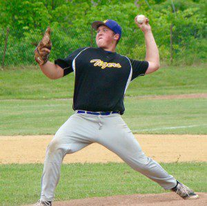 Westfield Voc-Tech pitcher Jake Parsons winds up against McCann Tech in a Western Massachusetts Division 4 opening round high school baseball tournament game Friday at Joe Wolfe Field in North Adams. (Photo by Chris Putz)
