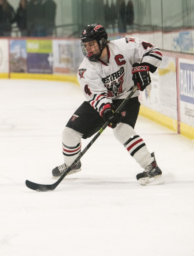 Westfield High School boys' ice hockey senior captain Mario Metallo will be critical in the Bombers' run to the playoffs. (Westfield News File Photo)