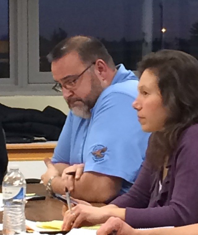 Southwick-Tolland-Granville Regional School Committee members Jeffrey Houle and Pamela Petschke. (Photo by Hope E. Tremblay)