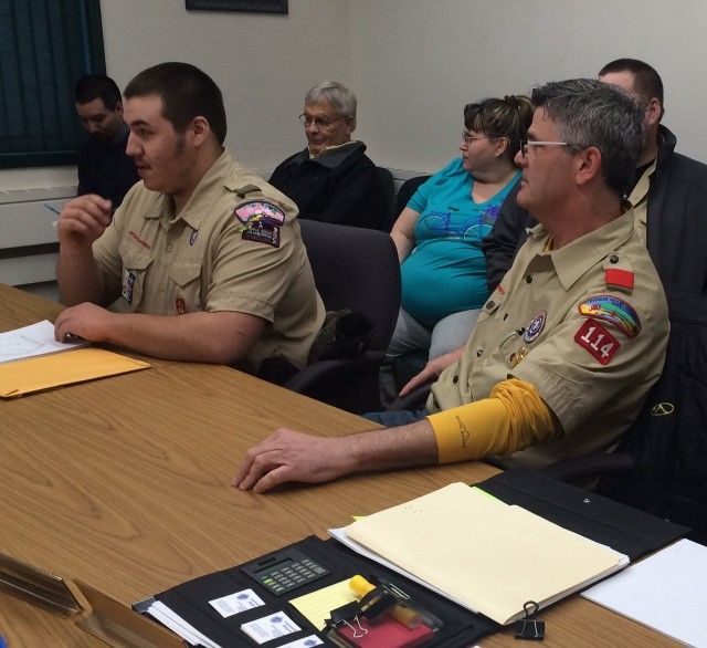 Eagle Scout Cote Small, at left, presents a proposal to the Southwick Board of Selectmen to build a new residential sand shed at the Southwick Department of Public Works. (Photo by Hope E. Tremblay)