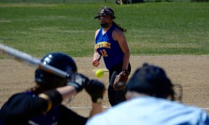 Gateway pitcher Audrey Gamble delivers a pitch to a Smith batter Wednesday. (Photo by Chris Putz)