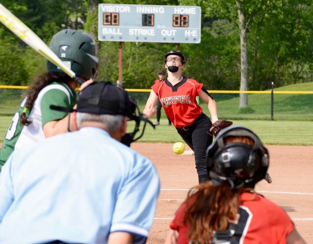 Westfield pitcher Hayley Moniz pitches to a Minnechaug batter Wednesday in Wilbraham. (Photo by Chris Putz)