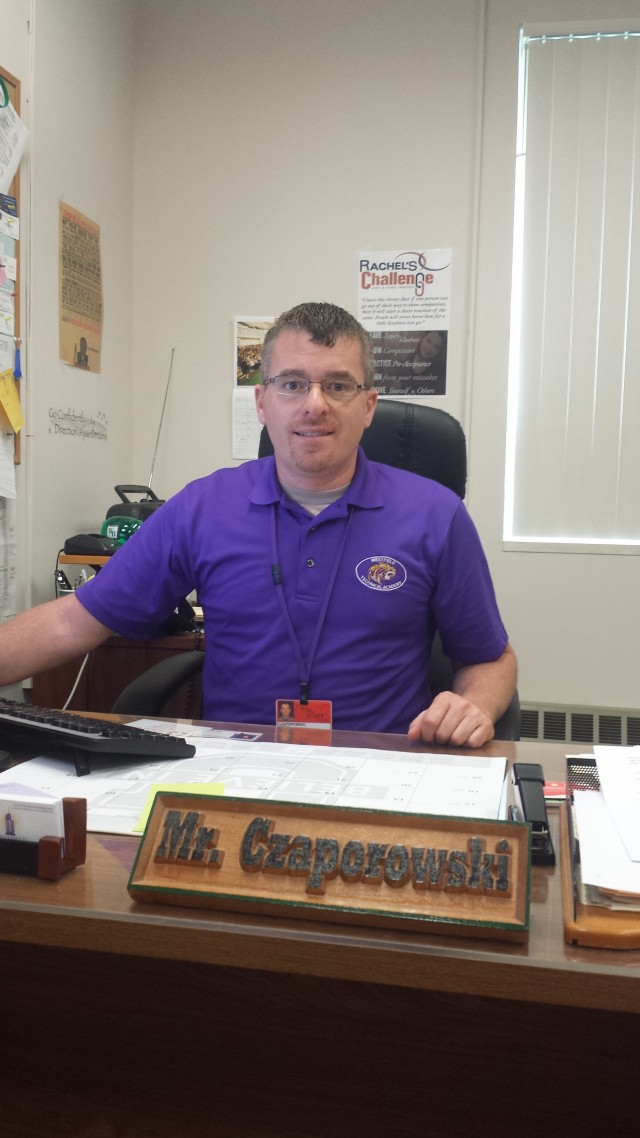Czaporowski sits in his soon-vacant seat at Westfield Vocational High School.