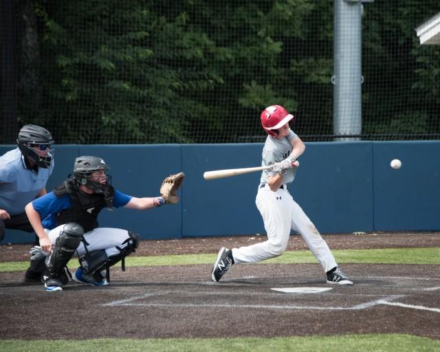 Jack Masciadrelli crushes one deep. (Photo by David Flaherty)
