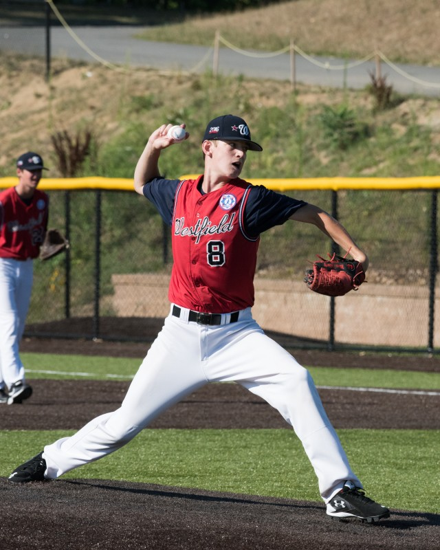 Westfield Babe Ruth Baseball 14U Wolf Pack pitcher Ethan Flaherty throws a two-seam fastball. (Photo by David Flaherty)