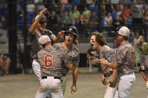 Tri Valley (CA) celebrates a Babe Ruth Baseball 14-Year-Old World Series championship with a 9-6 win over Bismarck (ND) Thursday night at Bullens Field. It was Tri Valley's second title win in two years. (Photo by Marc St. Onge)