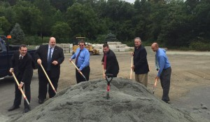 Southwick Select Board members, Sen. Don Humason, Rep. Nick Boldyga, and DPW Director Randy Brown all had their shovels out to mark the official announcement of the new salt shed right behind the DPW. (Photo by Greg Fitzpatrick)