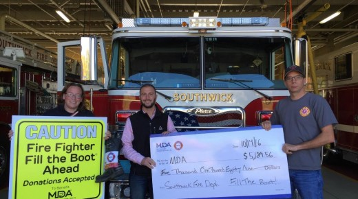 Southwick Fire Department received a check from the MDA