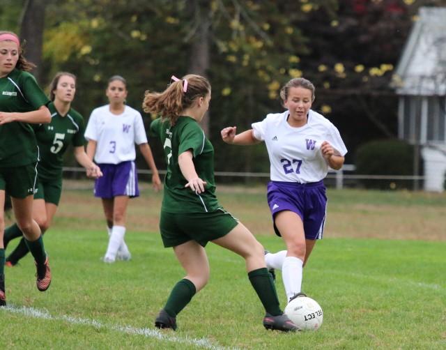 Westfield Technical Academy's Leah Babinova (27) looks to take the ball from McCann Tech Thursday. (Photo by Kellie Adam)
