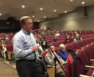 Ted Sussman brings forth his points as to why Granville Village School shouldn't be closed. (Photo by Greg Fitzpatrick)