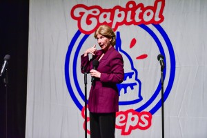"""Hillary Clinton""  in The Capitol Steps'  ""Deleter of The Facts"". Photo by Ross Lewin"