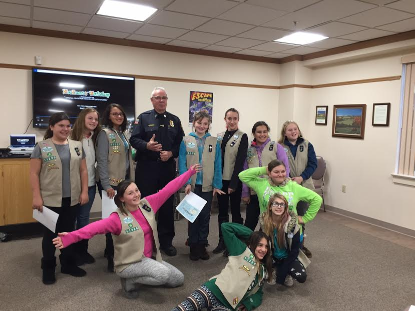 Southwick Police give presentation to local girl scout troop