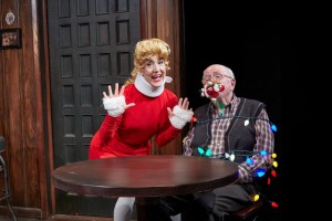Jenn Harris and Ron Carroll in Christmas on The Rocks at TheaterWorks, Hartford. Photo by Lanny Nagler.