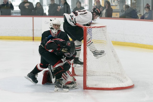 Westfield crashes the net against Marblehead Monday at Amelia Park Ice Arena. (Photo by Bill Deren)
