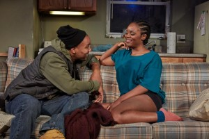 Carlton Byrd and Brittany Bellizeare in Sunset Baby at TheaterWorks. (Photo by Lanny Nagler.)