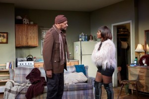 Tony Todd and Brittany Bellizeare in Sunset Baby at TheaterWorks. (Photo by Lanny Nagler)