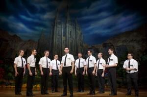 The Book of Mormon ensemble. Photo by Joan Marcus. CODY JAMISON STRAND (ELDER CUNNINGHAM) CANDACE QUARRELS (NABULUNGI)