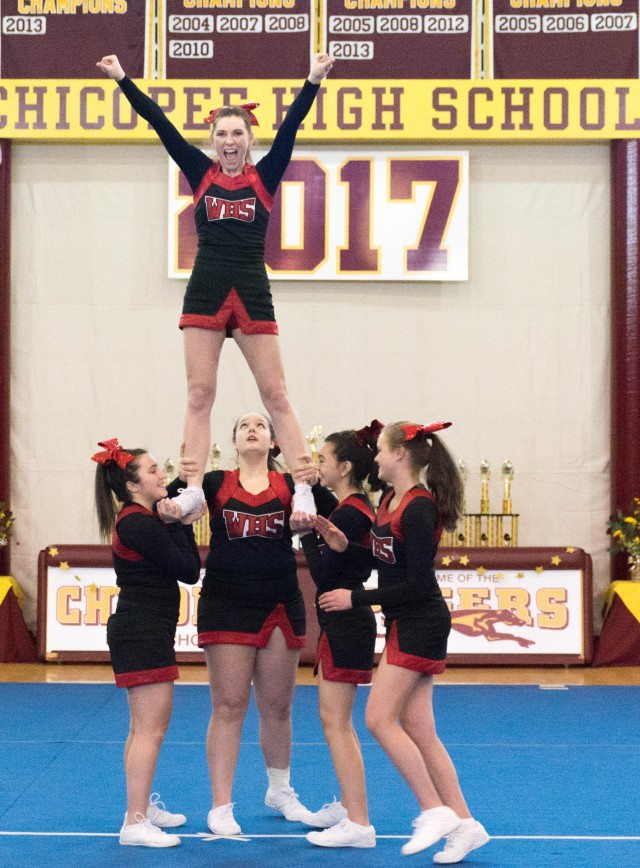 The Westfield High School cheerleading team performs during a competition Saturday at Chicopee High School. (Photo by Lynn Boscher)