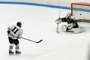 Scotty Bussell nets the game-winning goal for Westfield on a breakaway in the second period of Thursday night's Division 3 semifinal at the Olympia Ice Center in West Springfield. (Photo by Bill Deren)