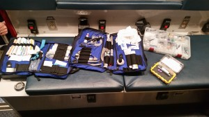 "Some of the many items and medications a paramedic may use during a ""call"""