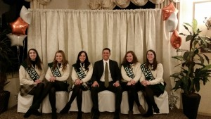 John Velis (center) is surrounded by the 2017 Westfield Colleen and her Court. (Photo submitted)