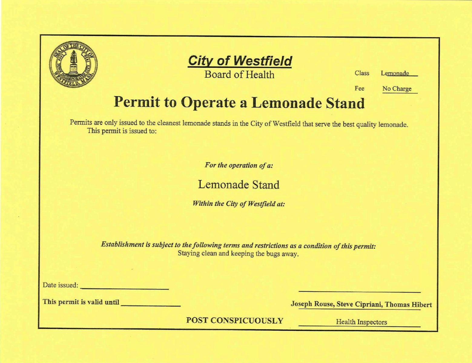 Board of Health issues lemonade stand permit