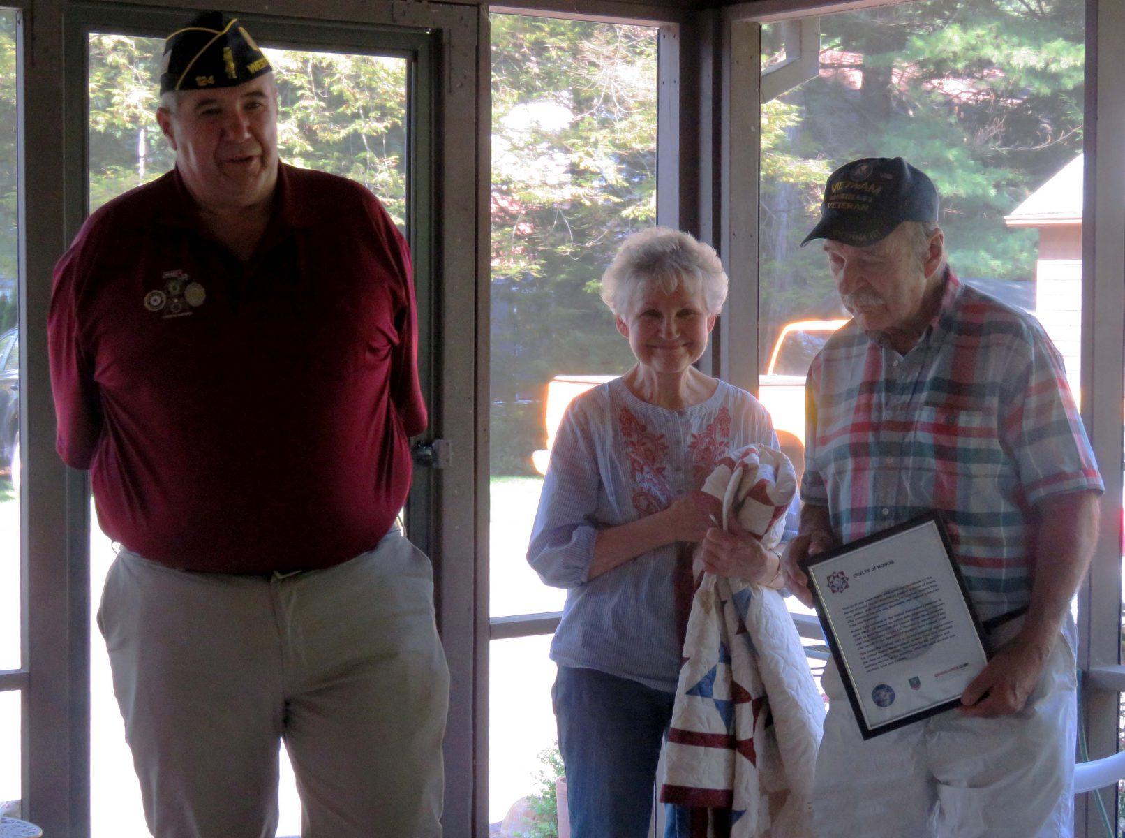"Navy Veteran receives ""Quilted Hugs of Gratitude"""