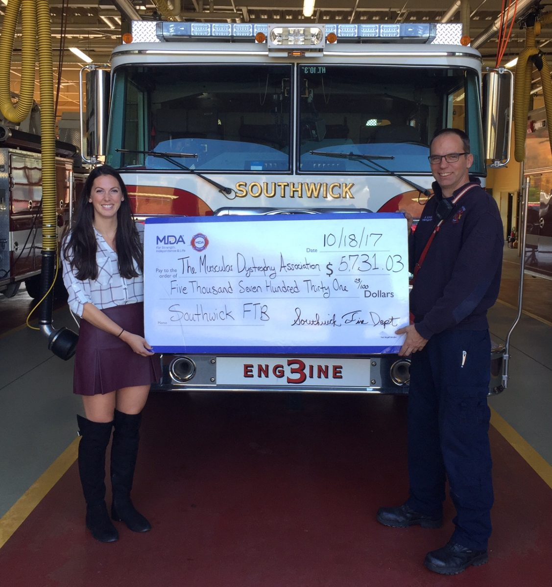 Southwick Fire raises over $5,700 from Fill the Boot Drive