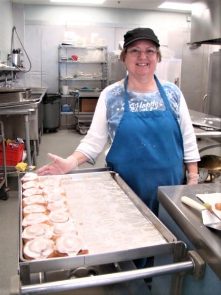 Baker Marie Pease and homemade honey buns